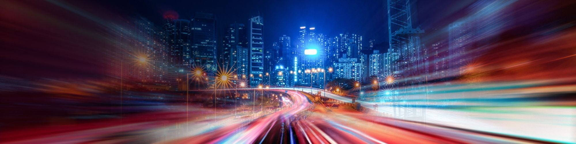 Highway with lights and city background